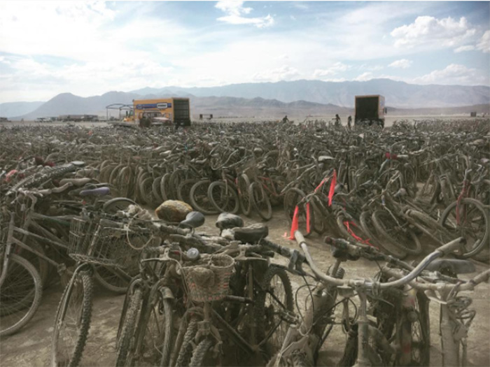 thousands bikes burning man donated to Houston hurricane victims
