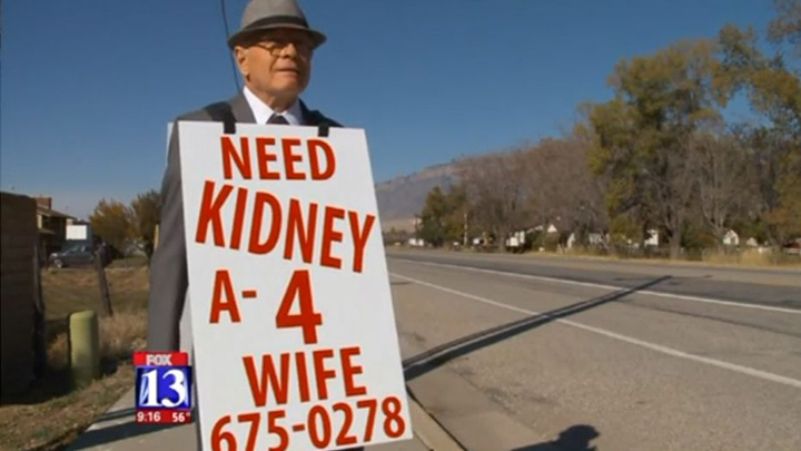 elderly man searches for kidney for wife