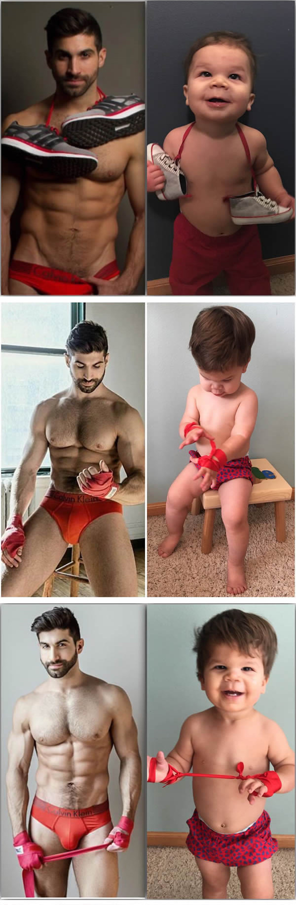 uncle baby model recreates poses