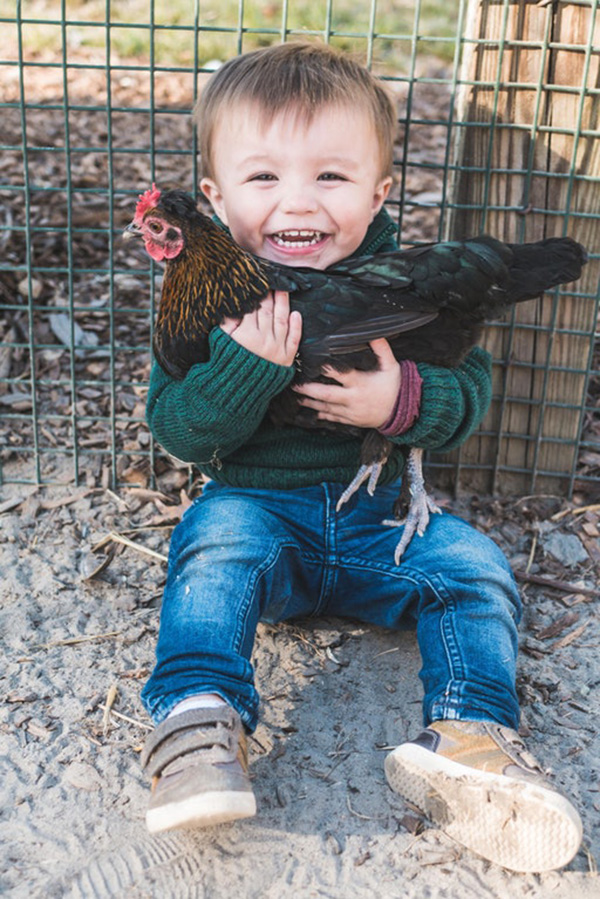 boy holding chicken caught first