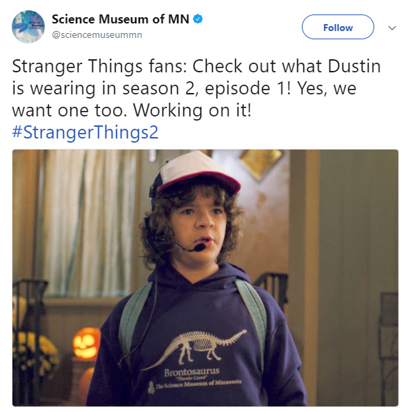 stranger things dinosaur hoodie science museum