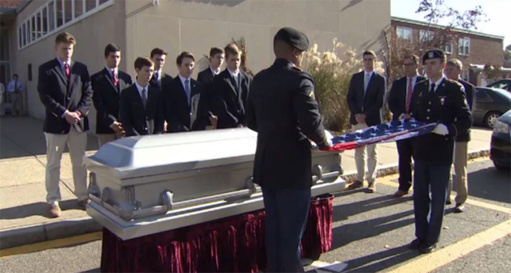 high school students funeral for homeless veteran