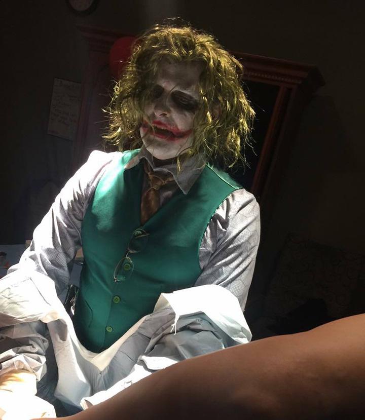 doctor delivers baby on Halloween dressed as Joker