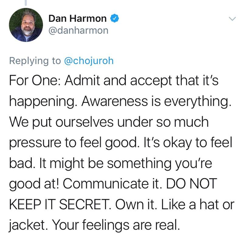 dan harmon advice to depressed fan