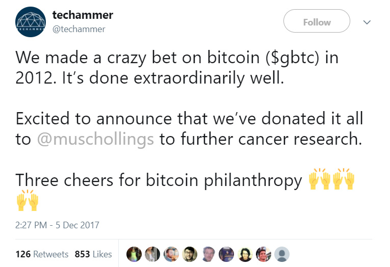 couple donates bitcoin to cancer hospital
