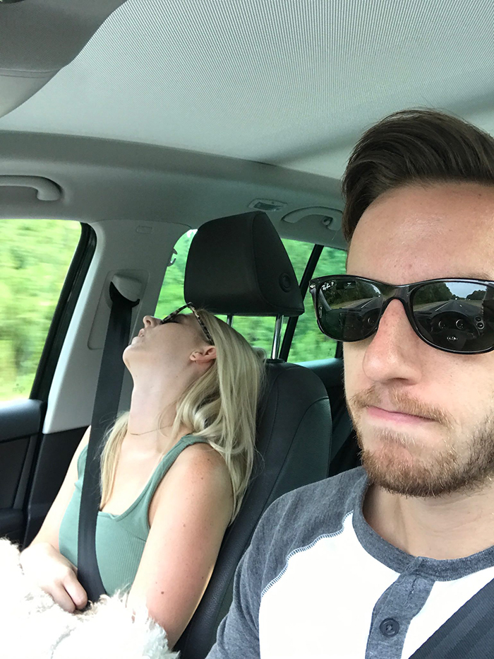 guy posts road trip pictures with wife sleeping in every one