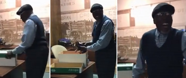 coworkers surprise janitor with puppy