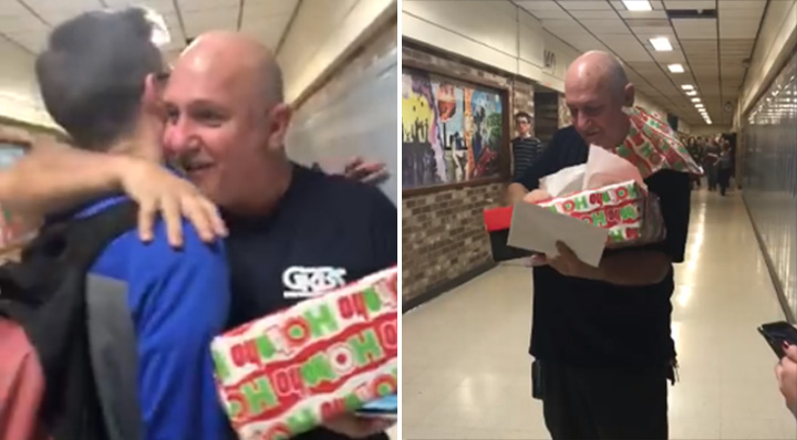 students get janitor new boots Christmas