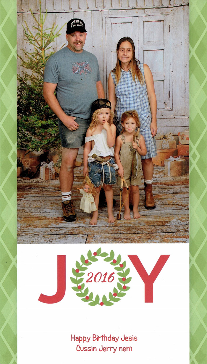family goes all out for christmas cards every year