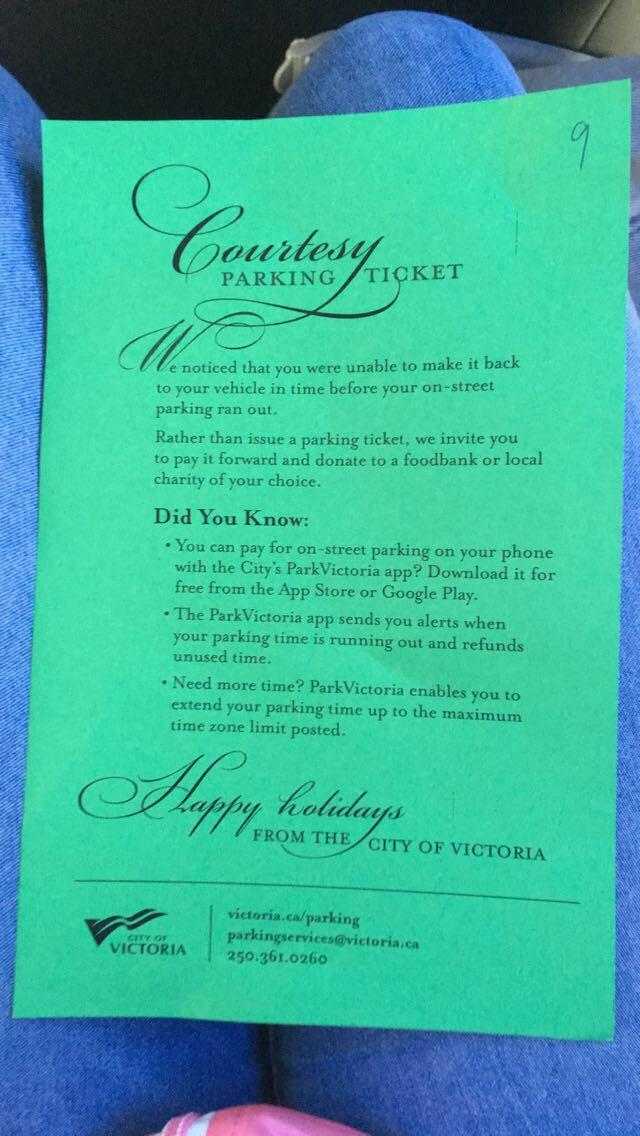 Victoria parking ticket pay it forward