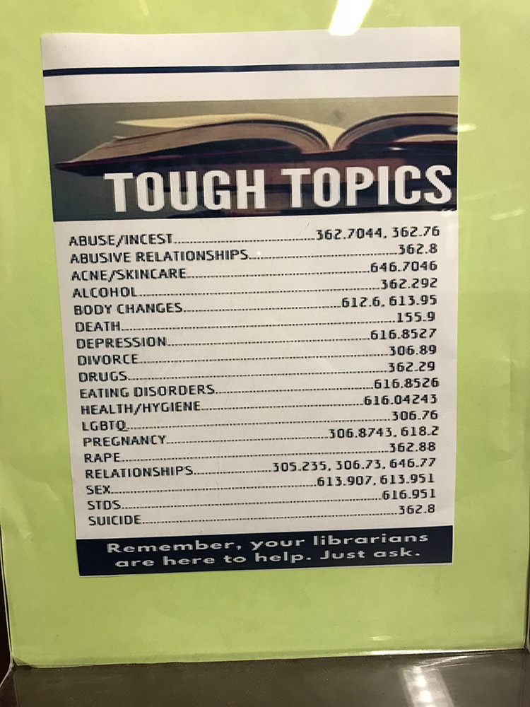 tough topics teens library sign
