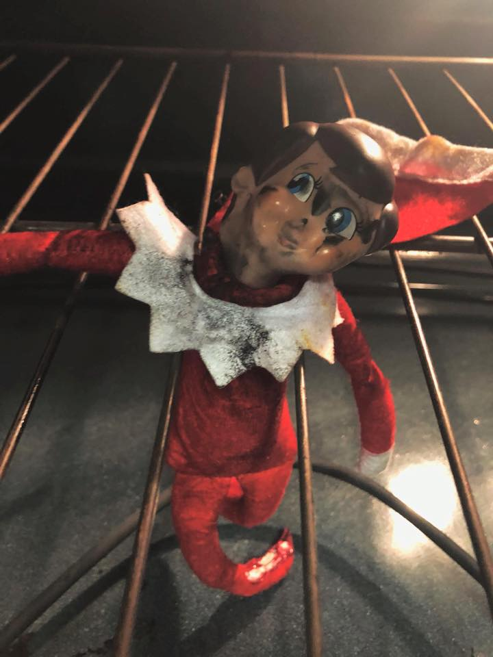 mom accidentally murdered elf on the shelf in oven