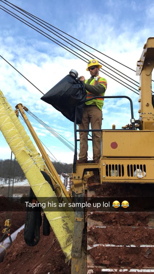 construction workers prank new guy collect air sample
