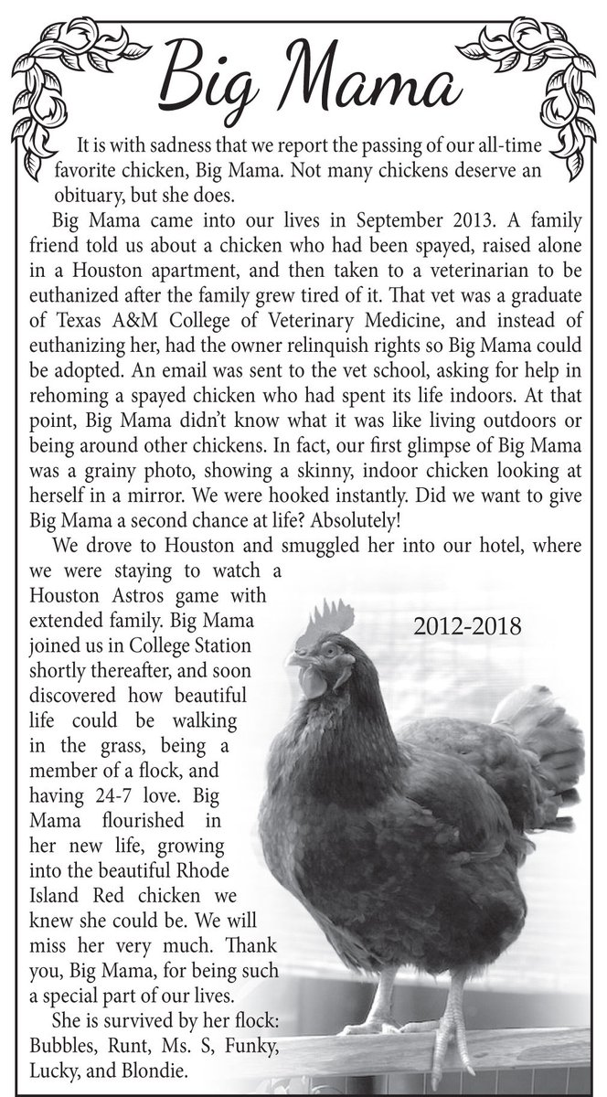 big mama chicken obituary
