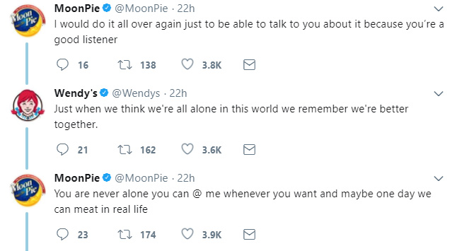 Moonpie and Wendys flirt love story twitter