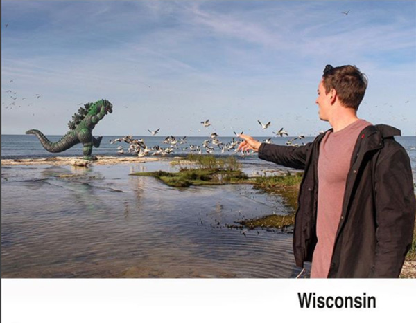 man travels with godzilla toy photoshop