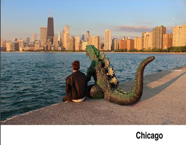 man travels with godzilla toy photoshop