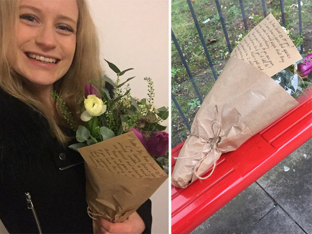 woman finds flowers on bus act of kindness