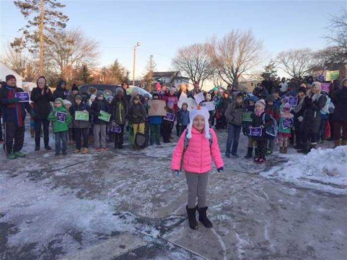 students staff welcome back kid cancer