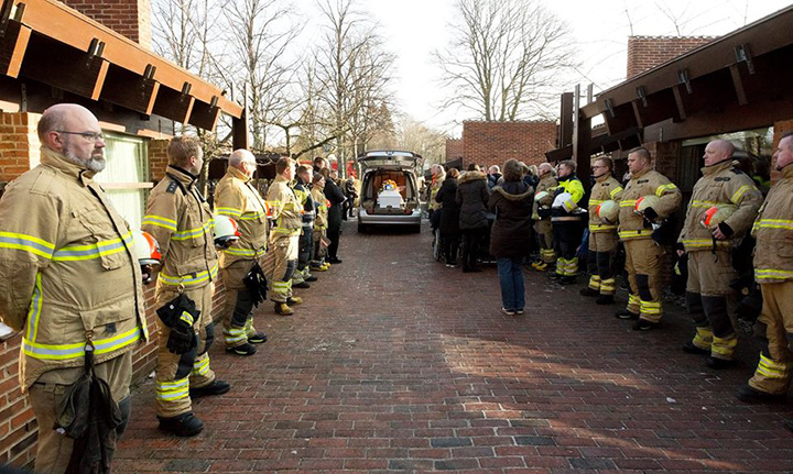 firefighters in Demark man with down syndrome funeral