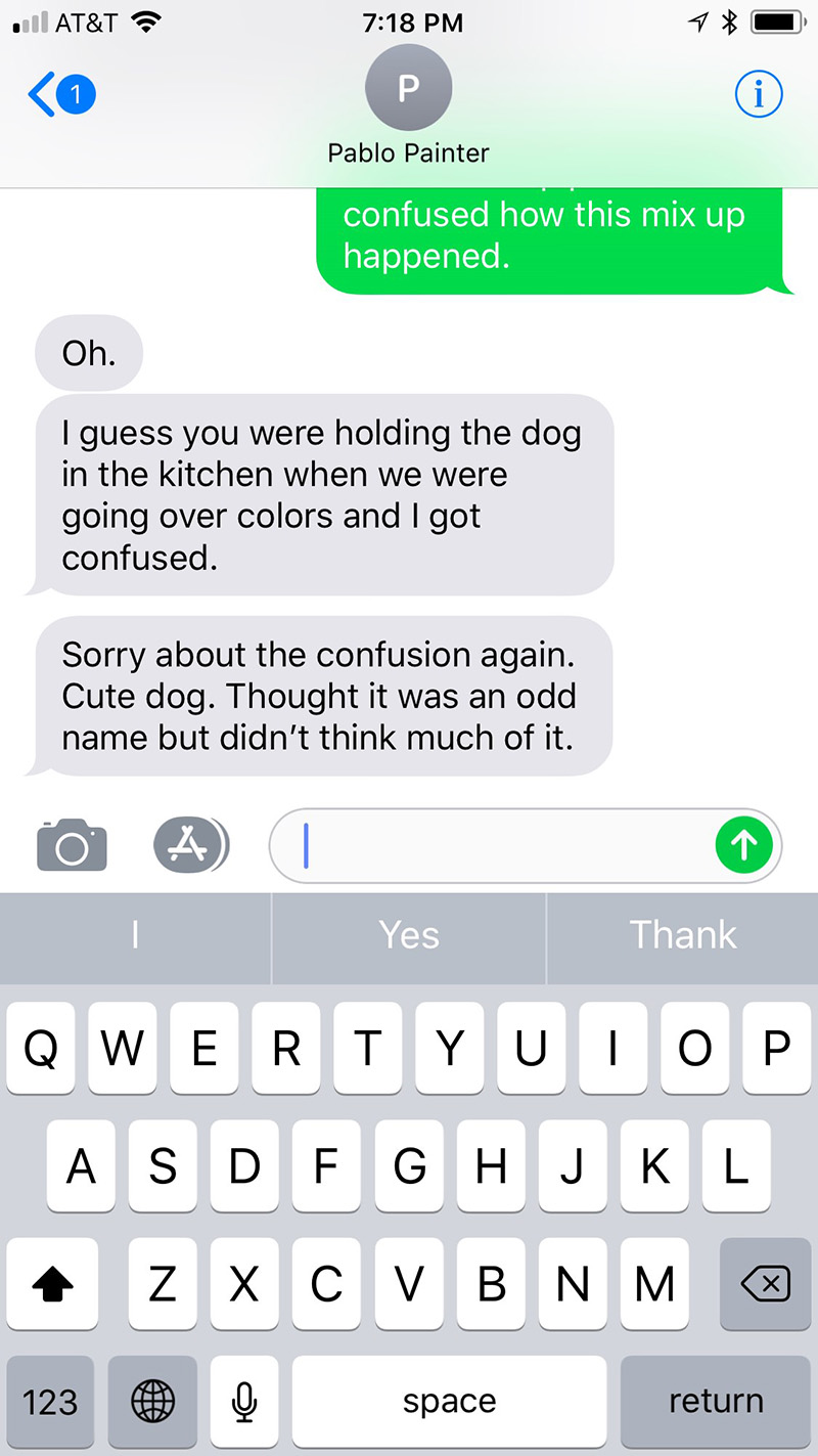 painter thinks dog name is white cabinets