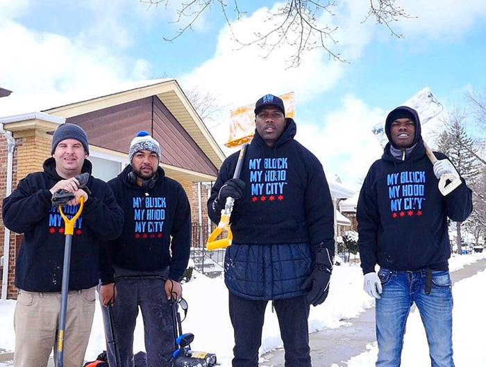 man asks for help shoveling snow for seniors Chicago