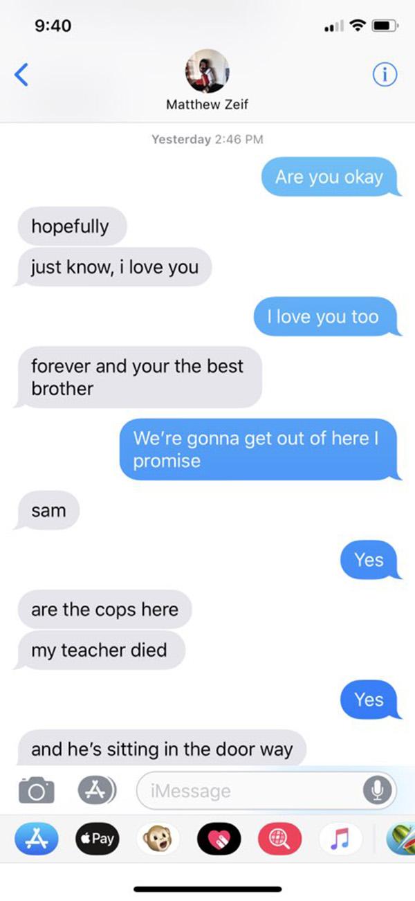 text messages between brothers during school shooting florida sam matt zeif