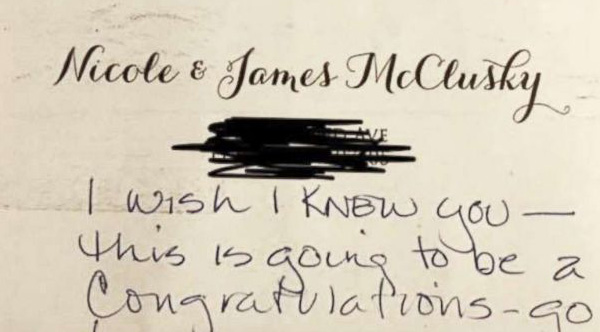 couple sends wedding invite to wrong address  gets back a