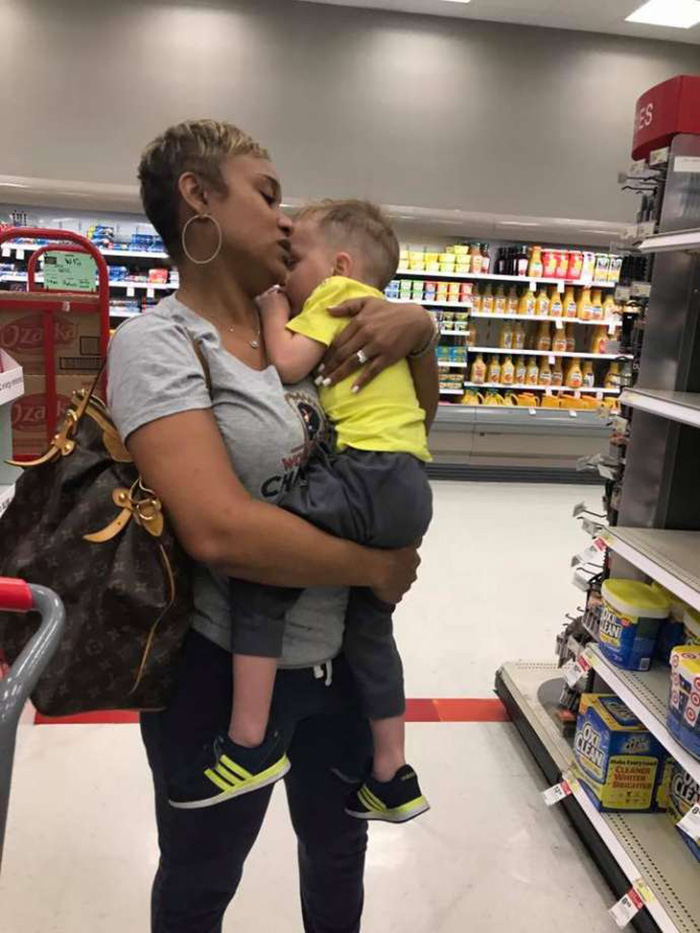 mom helps mom in target crying kids