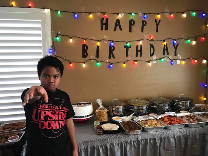 stanger things cast supports kid birthday