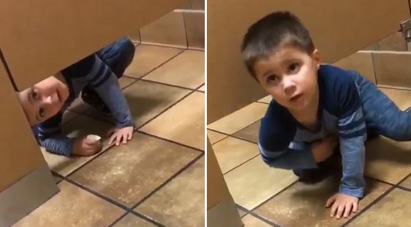 Hilarious Video Shows Boy Crawl Under Bathroom Stall At ChicfilA - Boy crawls under bathroom stall