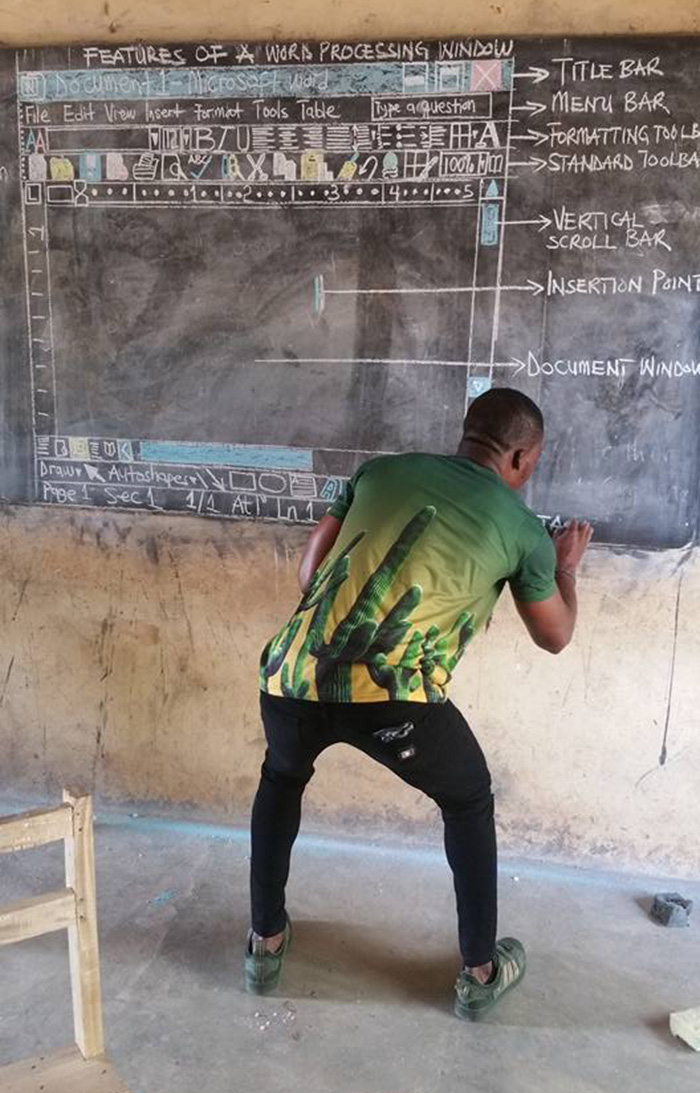 ghana teacher microsoft word on chalk board good news