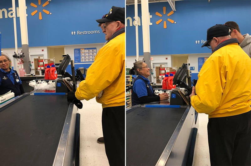 youn man pays for veterans order at Walmart