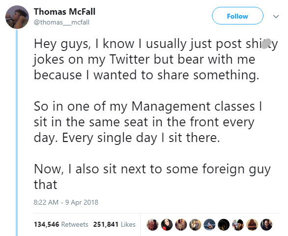 Student finds annoying foreigner is a friend he did not know he had