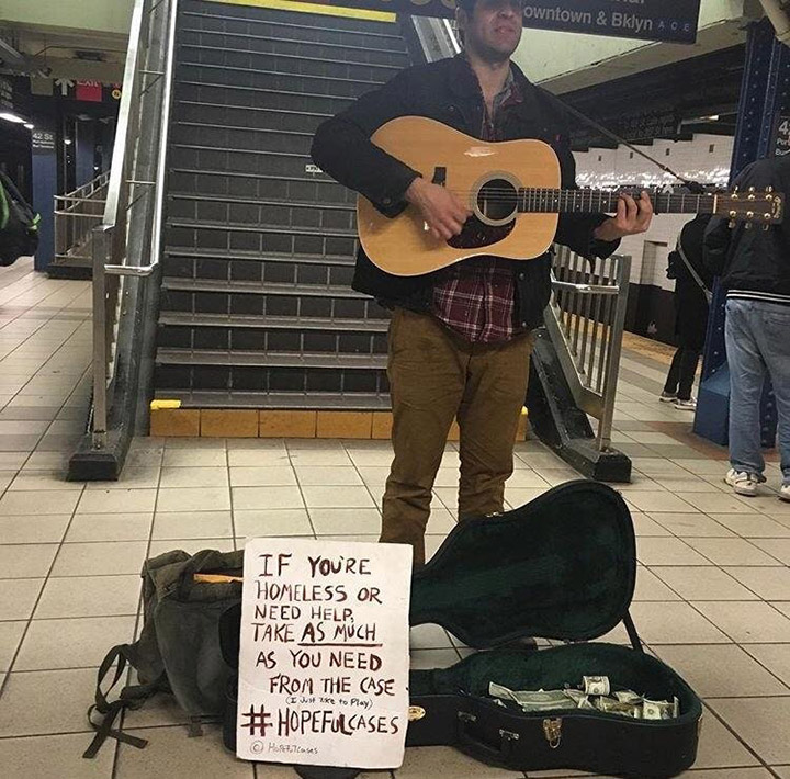 street performers play for homeless hopeful cases