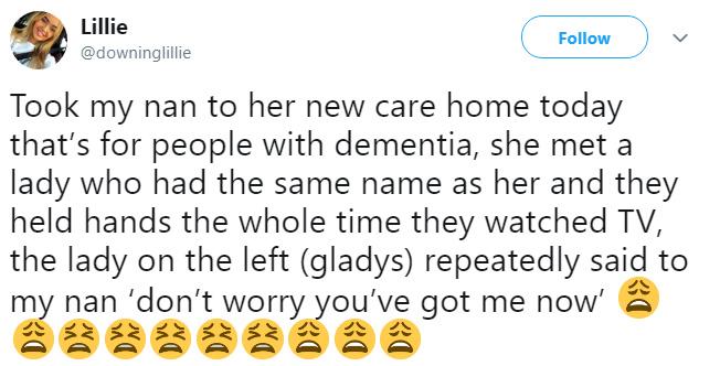 grandmother makes friend at nursing home dementia