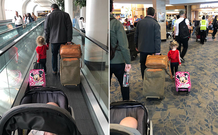 man helps woman traveling alone with two kids on plane