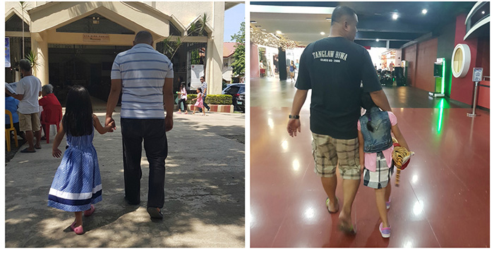 mom secretly photographs dad and daughter holding hands