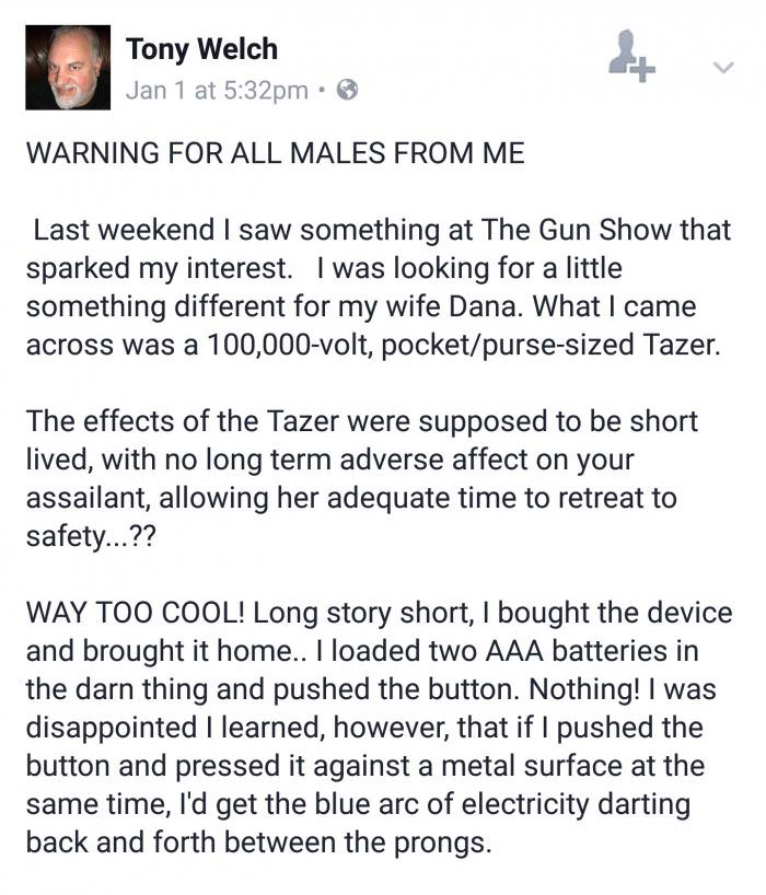 man tazed himself funny story
