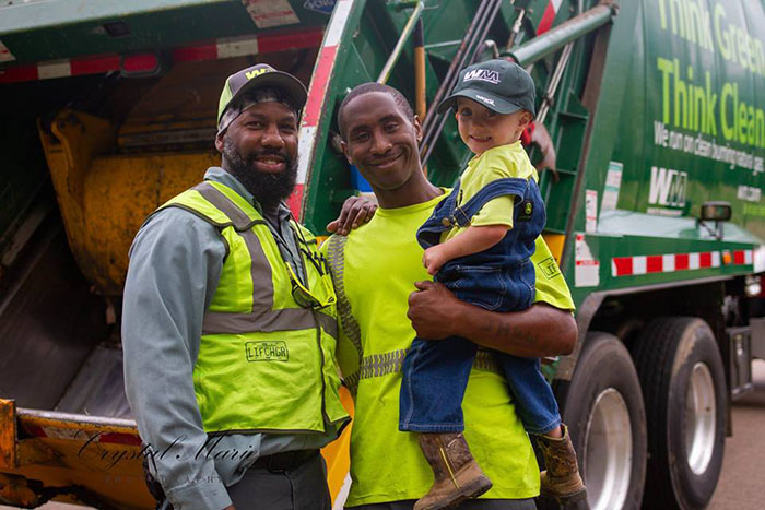 little boy garbage truck best friends happy dance