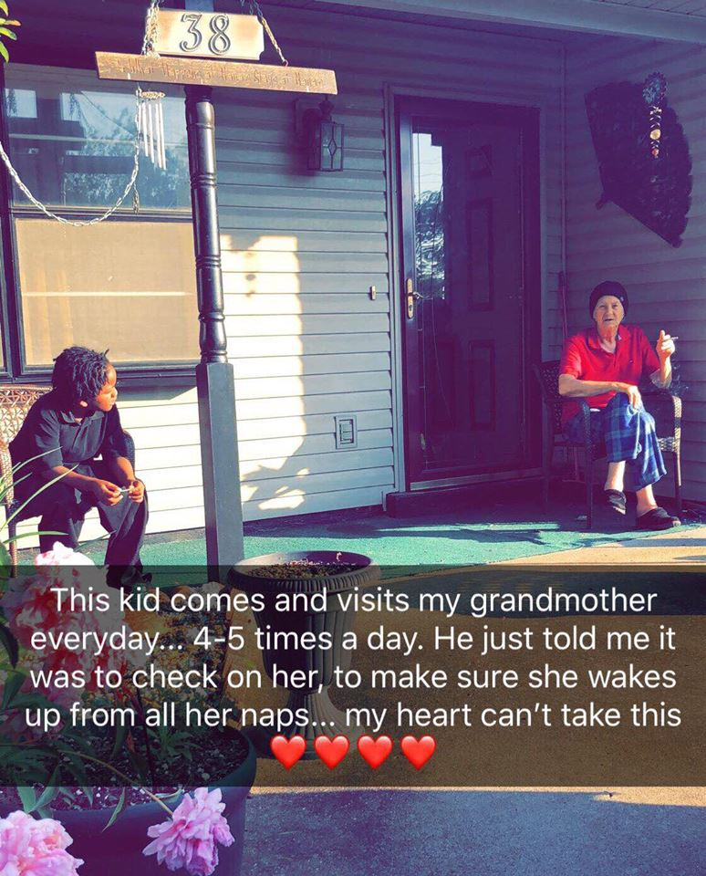 kid visits grandma 4 times a day to check on her