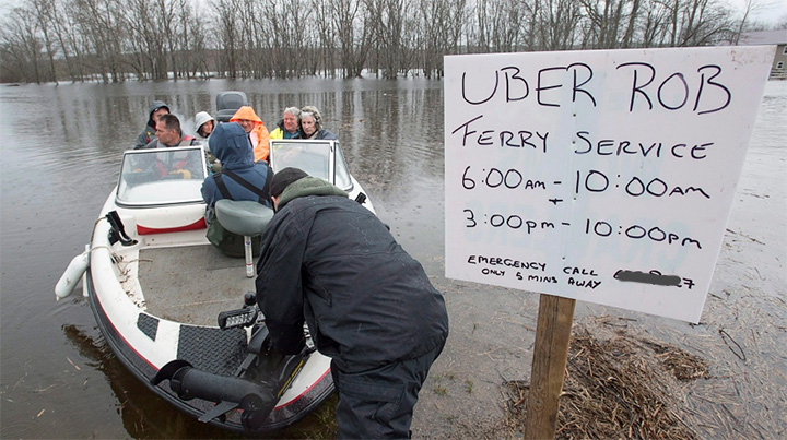 Uber Rob helps people in flood with ferry rides