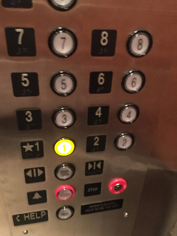 elevator button door close fake