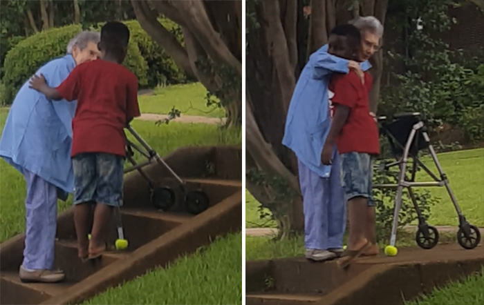8 year old helps woman up steps