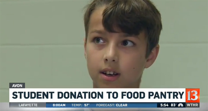 good news boy donates money to food pantry
