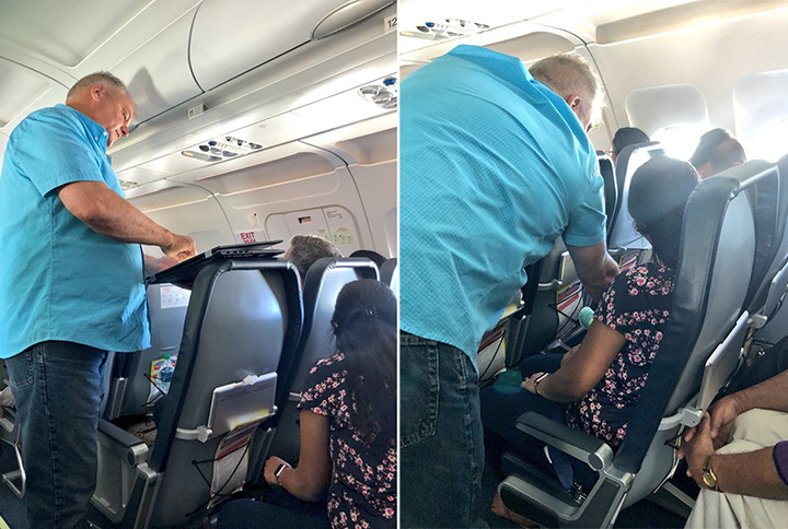 man kindness on plane