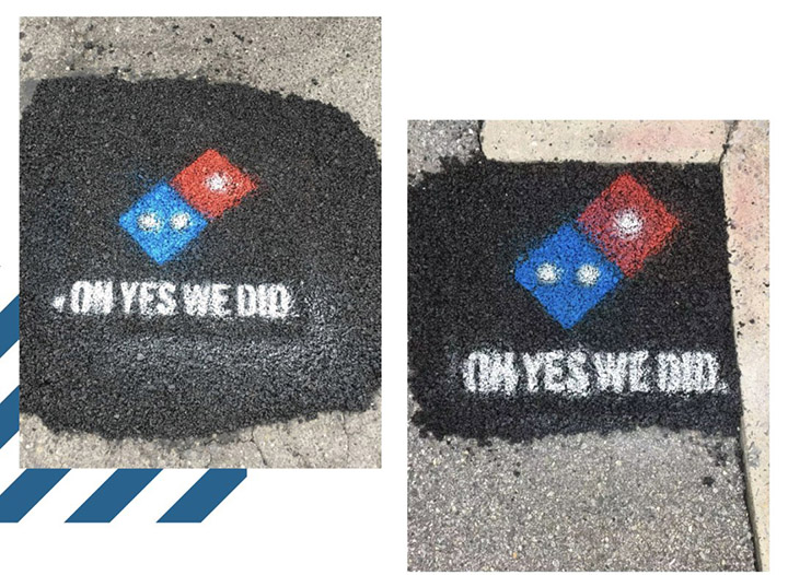paving for pizza dominos pot holes
