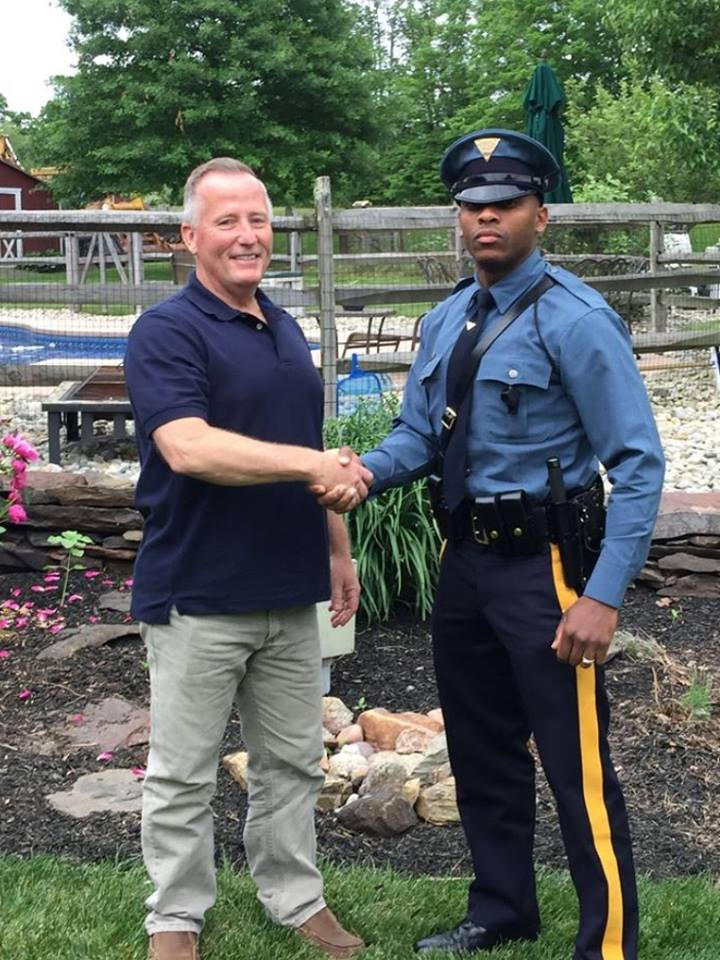 cop pulls over man who delivered him 27 years ago