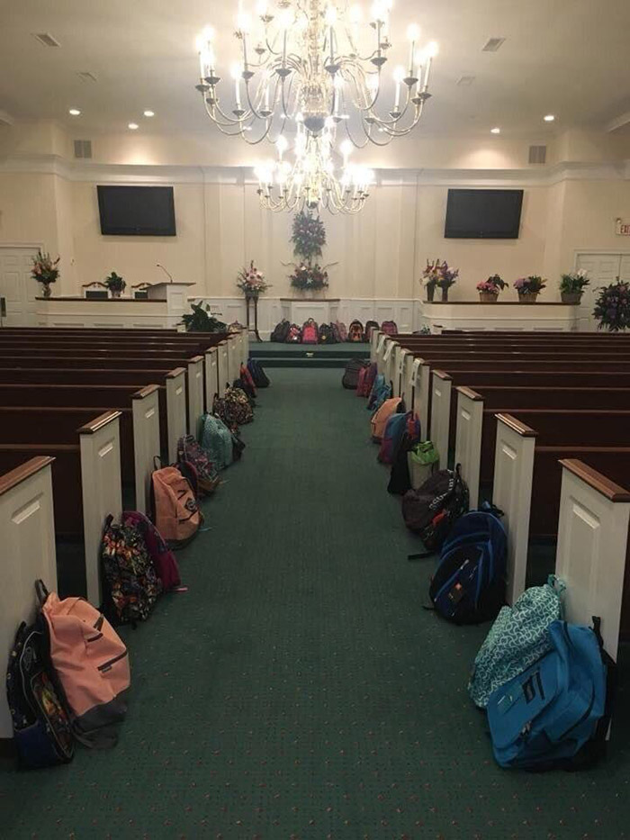 teachers bring backpacks to funeral tammy waddell