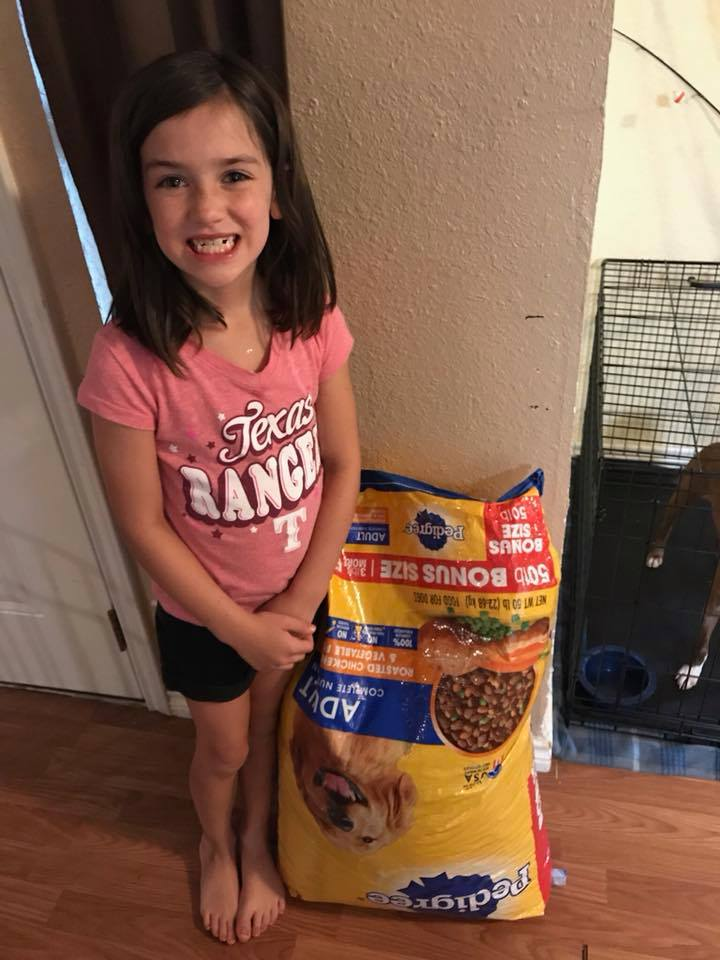 adisynn kiker donates pet food birthday